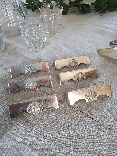 Portes-couteaux métal argenté x6
