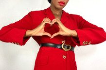VINTAGE BETTY BARCLAY LOVE HEART SKIRT SUIT