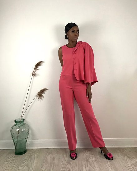 Pink Three-Piece Trouser Suit