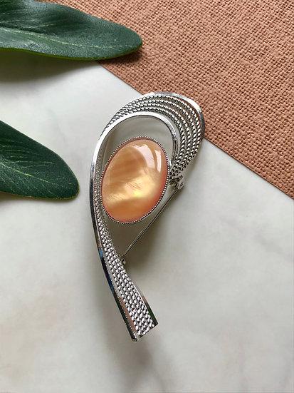 Vintage Amber Swirl Brooch