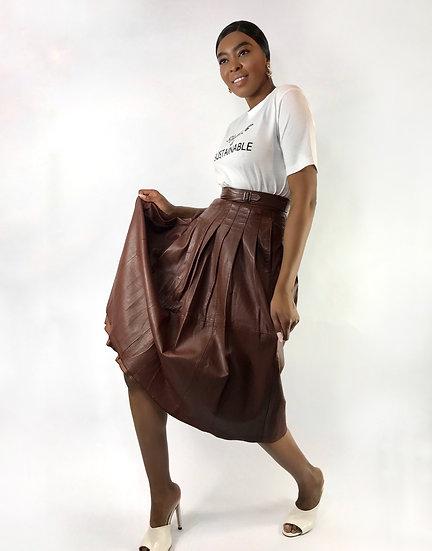 Vintage Leather Midi Skirt
