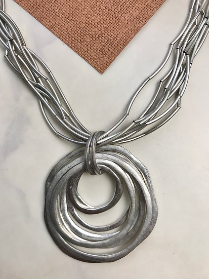 Vintage Silver Circles Pendant Necklace