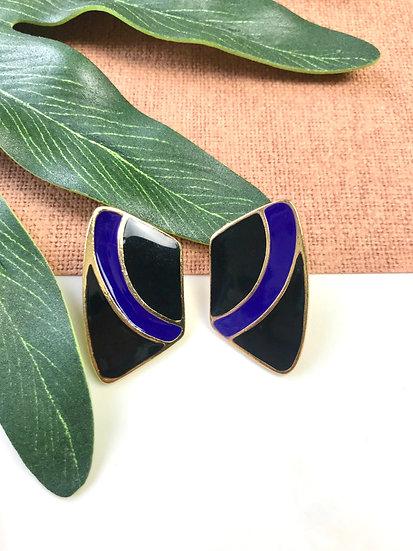 Black and Purple Vintage Art Deco Earrings