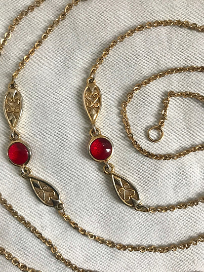 Gold and Red Vintage Chain Belt