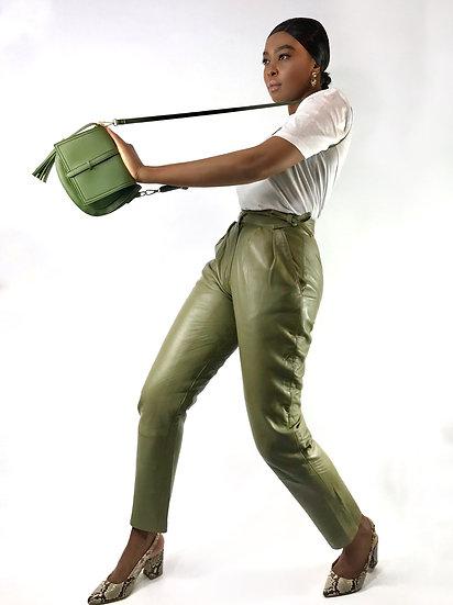 Pistachio Leather Vintage Trousers