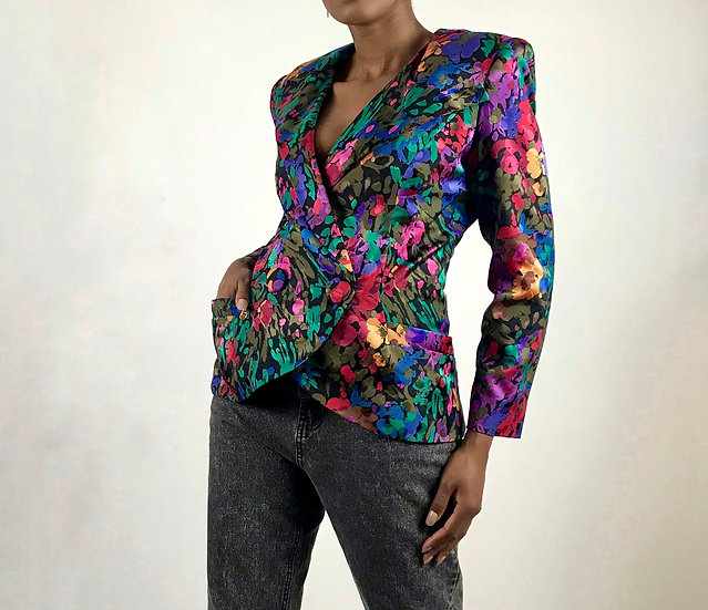 Abstract Print Silk Blazer