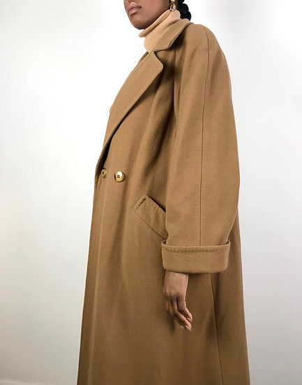 Vintage Double Breasted Camel Coat