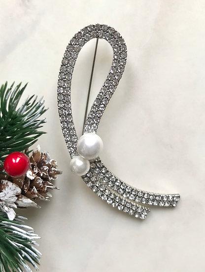 Vintage Silver Diamanté Pearl Brooch