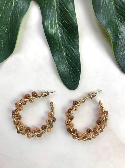 Vintage Beaded Hoop Earrings