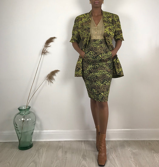 Escada Animal Print Skirt Suit