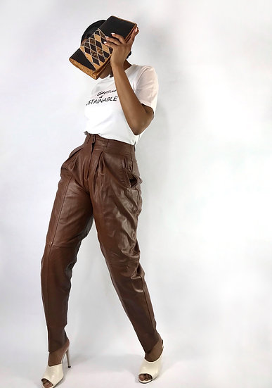 Brown Leather Vintage Trousers