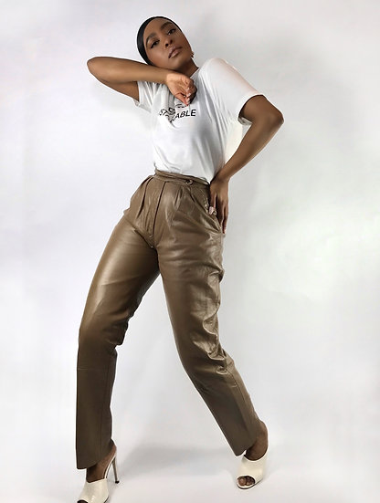 Taupe Vintage Leather Trousers