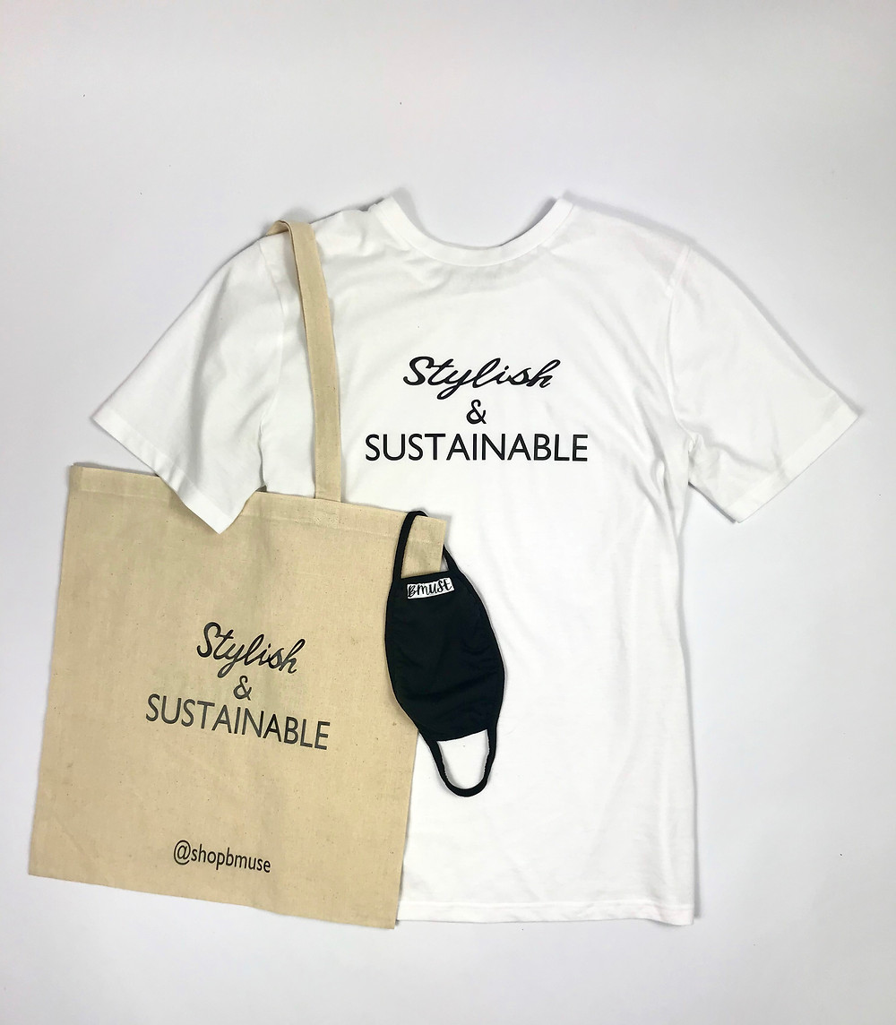 KIT contains: BMUSE Stylish & Sustainable T-shirt, BMUSE Stylish & Sustainable Tote Bag and complimentary BMUSE Face Mask