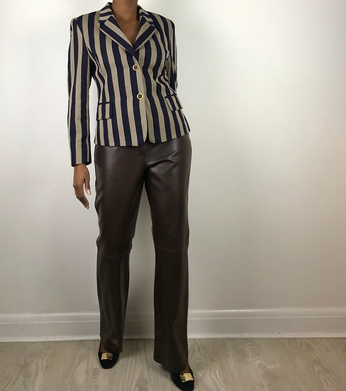 Brown Faux Leather Vintage Trousers