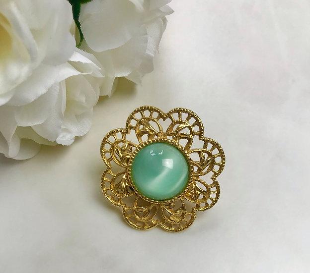 Vintage Aquamarine  Flower Brooch