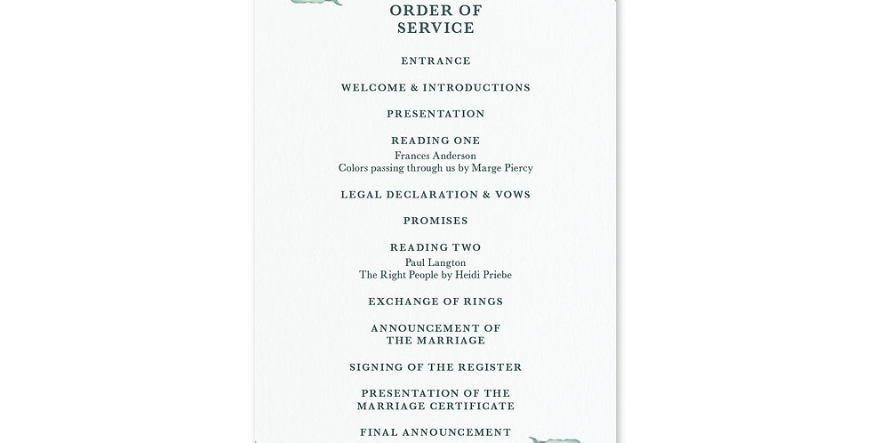 Tropical Foliage - Order Of Service