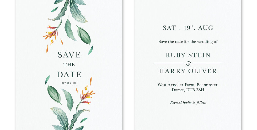 Tropical Foliage - Save The Date & Envelope