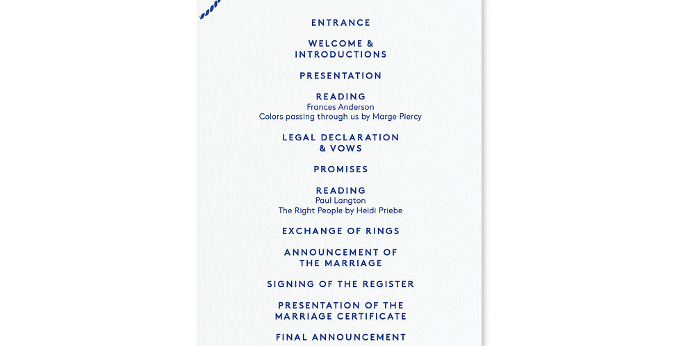 Tie The Knot - Order Of Service