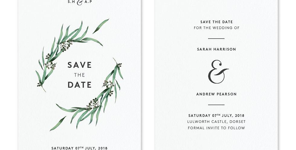 Eucalyptus Hoop - Save The Date & Envelope