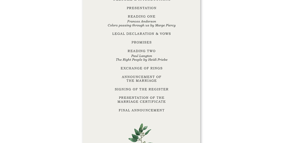Oval Greenery - Order Of Service