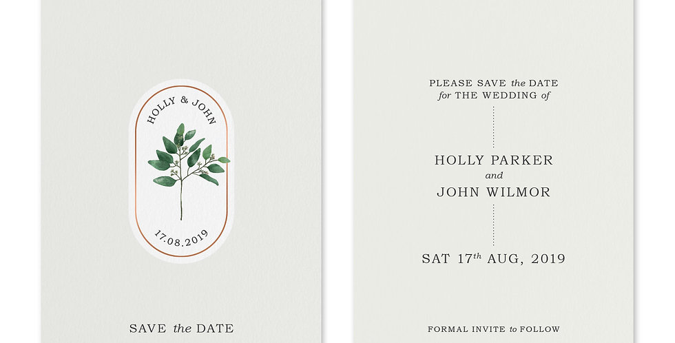 Oval Greenery - Save The Date & Envelope
