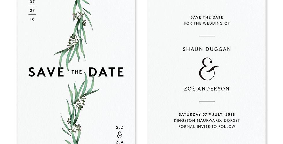 Eucalyptus - Save The Date & Envelope