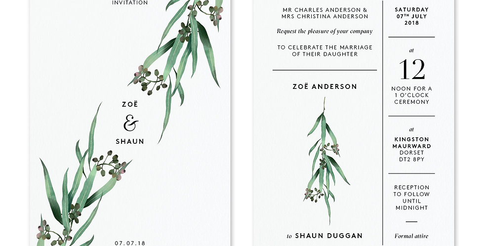 Eucalyptus - Invite & Envelope