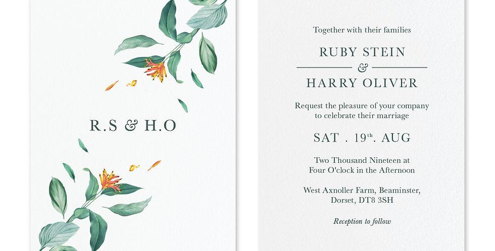 Tropical Foliage - Invite & Envelope