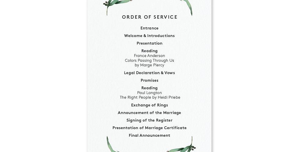 Eucalyptus Hoop - Order Of Service