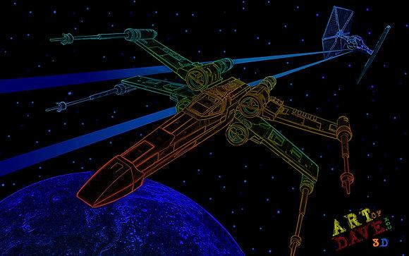 X-Wing - Chromadepth 3D Print.