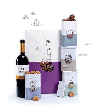 מארז טראפלס שוקולד ויין