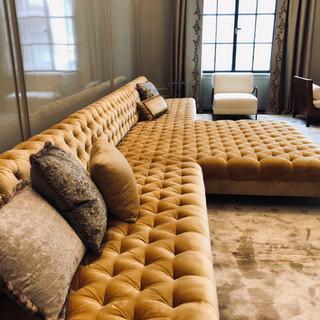Custom T shaped tufted sofa
