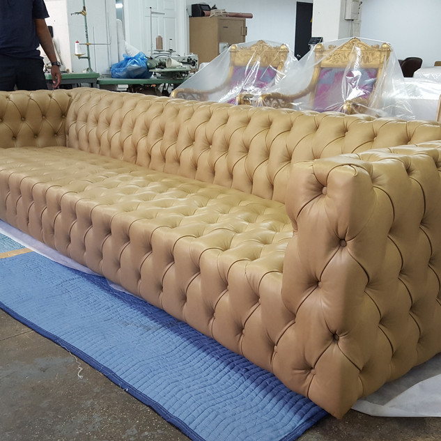 Custom tufted sofa
