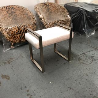 Custom metal bench with brass nikel finish