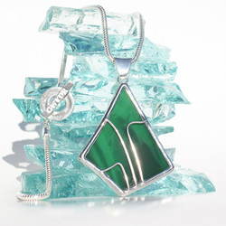 web size - Green stained glass pendant