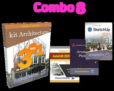 Combo 8  Kit Architeture-Curso AutoCAD 21 + Anotação e Plot + Curso SketchUp 21