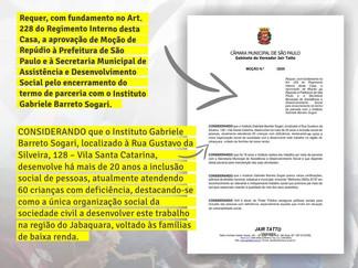 MOÇÃO DE REPÚDIO - FECHAMENTO DO INSTITUTO GABI