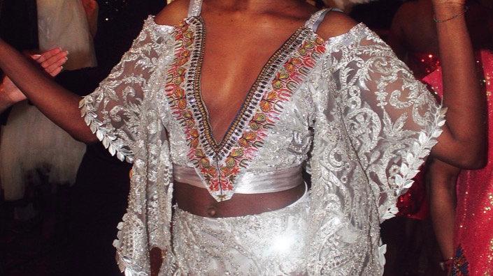 Silver Lace Beaded Designer Dashiki