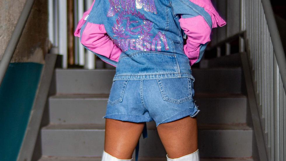 Zam Ghuden Pink Puff Sleeve Zg University jacket
