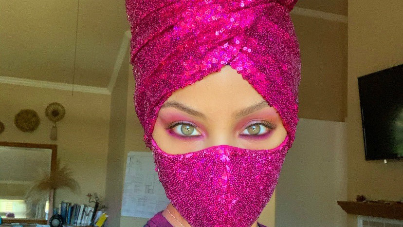Pre-order  sequin head wrap and face mask