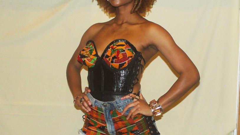 Kente pointy corset