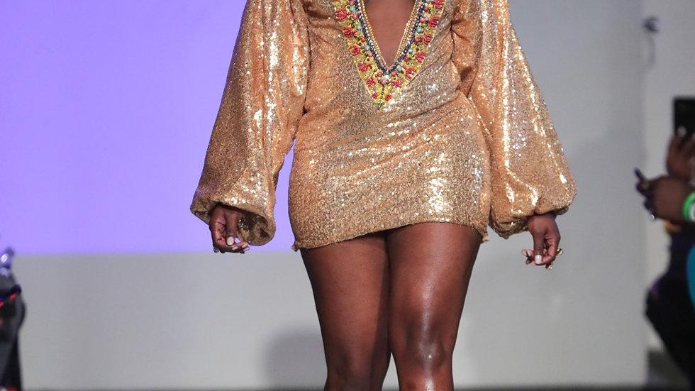 Deep-V Gold GODDESS DASHIKI DRESS