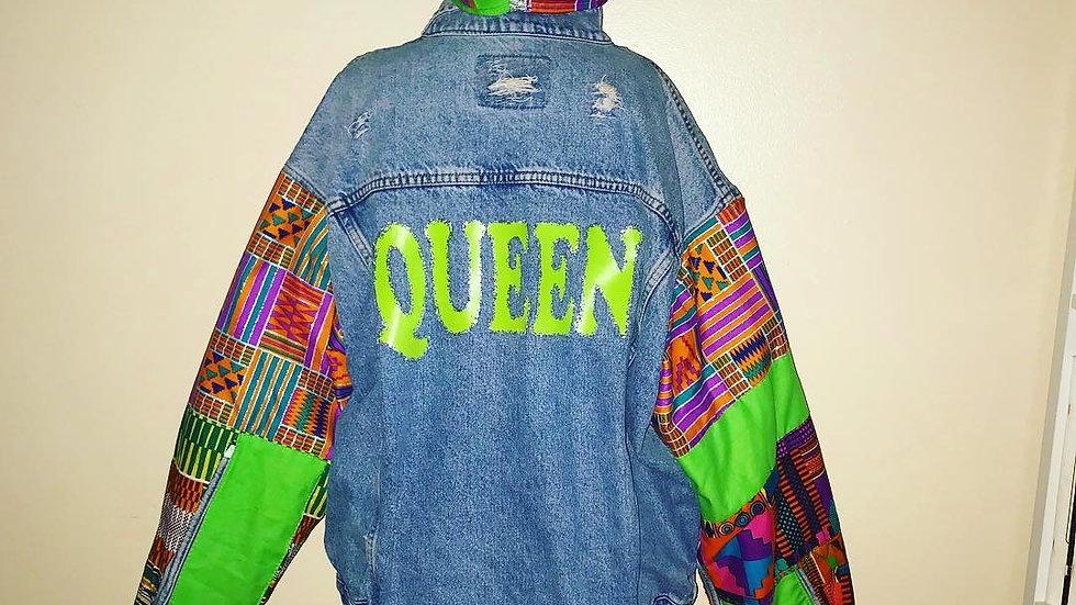 Queen kente patchwork denim jacket