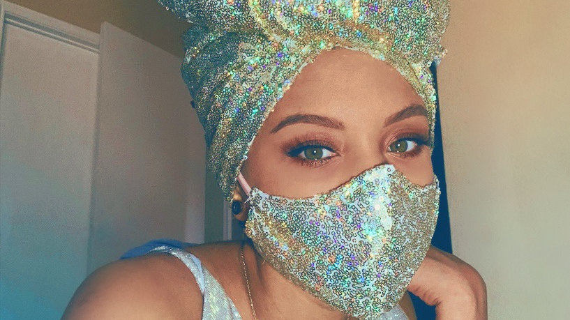 Pre order *Goddess Sequin head wrap and Face mask