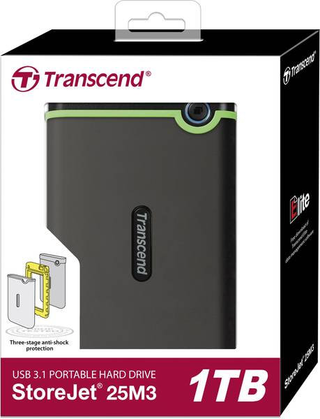 """Transcend StoreJet 25M3 - Disque dur - 1 To - externe (portable) - 2.5"""" - USB 3."""