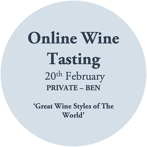 Online Wine Tasting - Ben Hancock 20th February