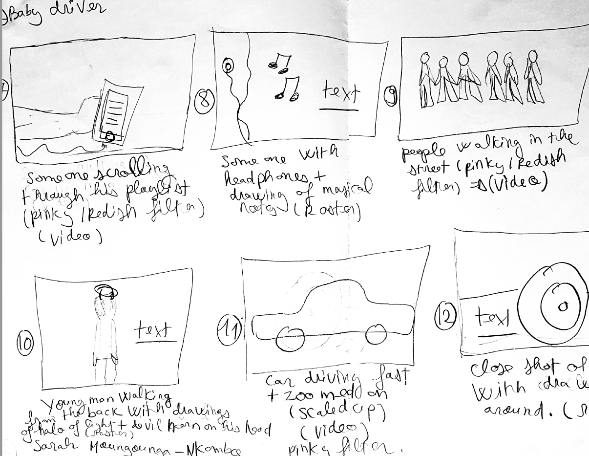 Baby driver storyboarding