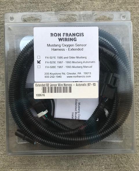 Ron Francis Wiring Extended Mustang 5.0L O2 Sensor Harness 87-93 Auto on dash gauge wiring, 93 f150 wiper wiring, ez wiring, car 2 speed fan wiring, race car switch panel wiring, 700r4 wiring, 79 bronco dash lights wiring, vw cabrio fuel pump wiring, 1964 dodge polara wiring, watson street works wiring, chevy neutral safety switch wiring,