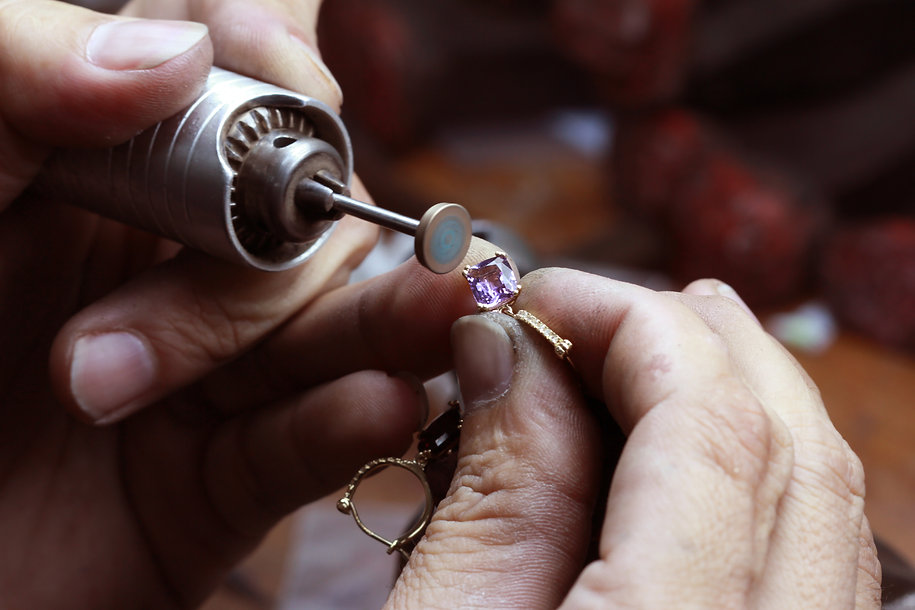Close up of repairing ring by polishing