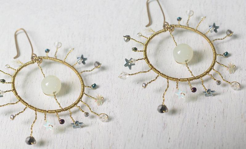 Moon Celestial earrings _ statement earrings _ moon earrings _ Stars earrings _ Galaxy jew